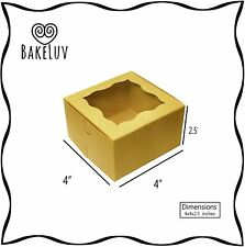 BakeLuv Brown Bakery Boxes with Window 4x4x2.5 inches   50 Pack   Thick & Sturdy