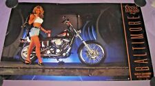 COORS EXTRA GOLD BEER HARLEY DAVIDSON OF BALTIMORE MD SEXY GIRL POSTER MAN CAVE