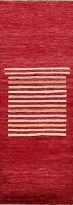 RED Geometric Gabbeh Kashkoli Oriental Runner Rug Hand-knotted Wool Modern 3'x8'
