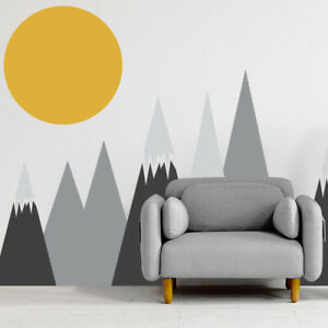 Removable Waterproof Vinyl Wall Sticker Decal Triangles Mountains Sun Clouds