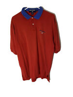 Vtg 90s Polo Sport Ralph Lauren Red White Solid Red Polo Shirt Mens Sz L Flag