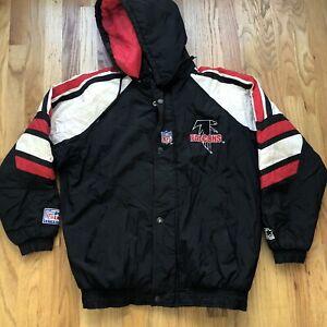 Men's Vintage Starter 90s Atlanta Falcons NFL Puffer Puffy Hooded Black Jacket S
