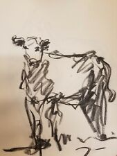 "Jose Trujillo - Original Charcoal Paper Sketch Drawing 12"" Modernist Cow Animal"