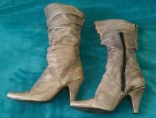 MARTINI MARCO Grey Soft Calf High Leather boots size 39 Nina Proudman Style