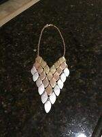 SILVER AND ROSE GOLD TONE LARGE Chunky Chain Link Statement Necklace, POPULAR!!