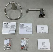 KOHLER Rubicon Toilet Paper Holder and Towel Ring in Vibrant Brushed Nickel