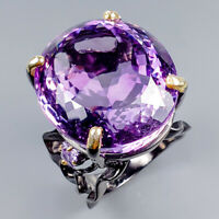 Handmade75ct+ Natural Amethyst 925 Sterling Silver Ring Size 8.5/R120073