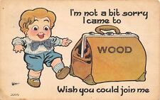 """""""Not A Bit Sorry I Came"""" to Wood Pennsylvania~Boy With Traveling Bag~1914 Pc"""