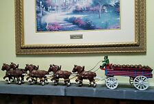 Budweiser Cast Iron - Eight Clydesdale Horses Pulling Bud Beer Wagon and  Men