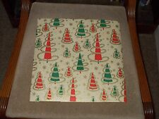 """VTG CHRISTMAS WRAPPING PAPER GIFT WRAP 24"""" X 30"""" SNOWFLAKES & TREES GOLD GARLAND"""