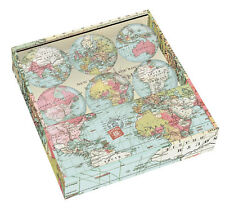 NEW Set 6 Small 35mm Glass Fridge Magnets Gift Boxed World Map Voyager Magnetic