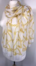NEW Designer Inspired Chain Print Pashmina Scarf White Yellow Softest Oversized