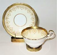 Aynsley GOLD DOWERY 7892 Filigree, Gold Encrusted. Scalloped, Cup & Saucer Set