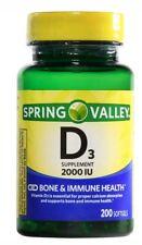 Spring Valley D3 2000 IU  Vitamin Supplement 200 Softgels.