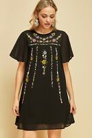 ENTRO Black Floral Embroidered Shift Dress USA Boutique