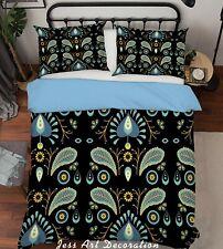 3D Blue Black Floral Quilt Cover Duvet Cover Comforter Cover Pillow Case 79