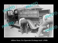 OLD LARGE HISTORIC PHOTO OF ABILENE TEXAS, COX TYPEWRITER EXCHANGE TRUCK c1940s