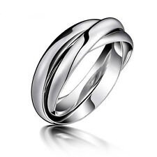 3in1 Stainless Steel Ring 3 Colors Wedding Band Women's Jewelry Trinity Size5-10