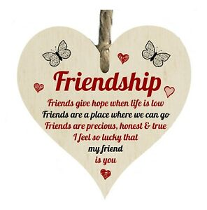 Friendship Lucky My Friend Is You Quote Wooden Novelty Plaque Sign Gift htc60