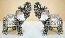 Pair Of Decorative Silver Glitter Mosaic Mirror Indian Buddha Elephant Ornaments
