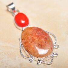 "Handmade Calcite Jasper Gemstone 925 Sterling Silver Pendant 2.75"" #P14295"