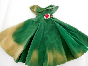 """Vintage Mary Hoyer Tagged Green Velvet Gown Dress for 14"""" Doll"""