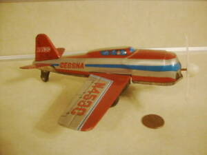 Vintage Tin Friction Airplane N453C CESSNA w Propeller Japan Era Collectible Toy