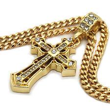 "Mens 14K Gold Plated Spear Cross Pendant Hip-Hop 3mm 27"" Cuban Chain Fashion"