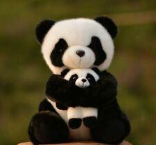 "12"" plush panda bear with baby dolls"