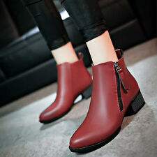 Women's Vintage Zipper Shoes Fashion Ankle Pointed Horseshoe Heel Martin Boots