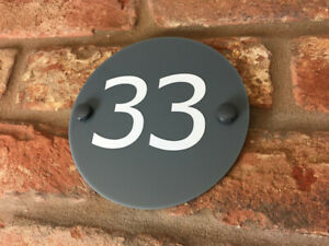 Customized House Number Sign Plaque Modern Contemporary Grey Acrylic Door Round