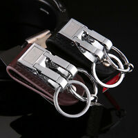 Stainless Steel Belt Buckle Clip Key Chain Key Ring Holder Keychain 2 Loops