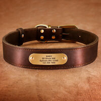 Brown Leather Personalized Dog Collar Engraved Name ID Tag For Small Large Dogs