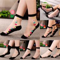 Women Crystal Sock Sheer Thin Ice Silk Black Lace Ankle Flower Boat Socks GiftJS