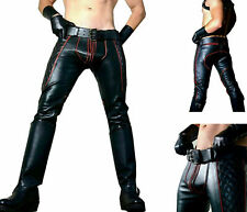 Men's Real Cowhide Leather Pants Jeans Trousers Padded Red Stripes BLUF GAY