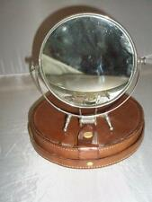 ANTIQUE CAMPAIGN SHAVING MIRROR AND LEATHER CASE- MILITARY- COLLECTABLES