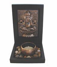 Feng Shui Small Desktop Zen Garden with Ganesh Image Rocks Candle