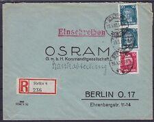 DR Mi Nr. 392, 390 MiF R- Brief Stettin - Berlin 23.05.1927