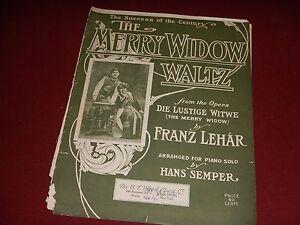 1907 The MERRY WIDOW WALTZ : Die Lustige Witwe Opera - Antique Sheet Music