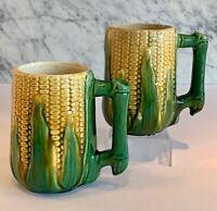 Antique Majolica Brush McCoy Pair of Corn Mugs c. 1910-25