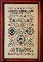 Cross Stitch Pattern QUAKER SAMPLER Vintage Alphabet Birds Flowers Borders