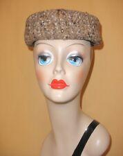 Ladies 1960's Brown Irish Tweed Pillbox Hat