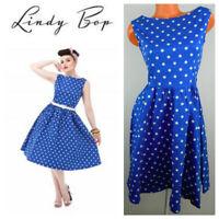 LINDY BOP Audrey DRESS Small POLKA DOT White BLUE Rockabilly Retro Swing 50s  j