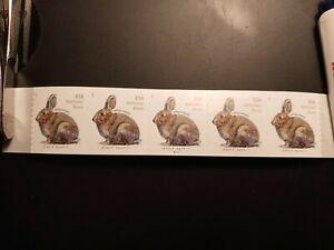 US 2021 Scott #5545 20c Brush Rabbit extra oz plate #P11111 strip of 5 MNH