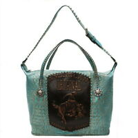 Raviani Overnight Bag In Turquoise Embossed Croco Leather W/ American Original
