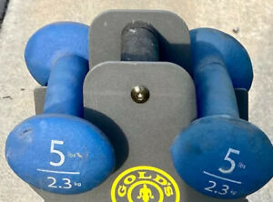 Pair Of 2X - 5 Lb Blue Neoprene Rubber Round Dumbbell Weight 10 lbs Total
