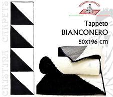 Tappeto Bianconero 50x196 cm Bordato Lavabile con Acqua