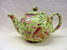 British birds on green design 2 cup teapot by Heron Cross Pottery