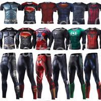 Superhero Gym Men Shirt 3D Marvel Compression Pants Leggings Cycling T SHIRT