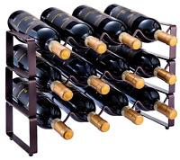 3 Tier Stackable Wine Rack, Countertop Cabinet Wine Holder Storage 12 Bottles